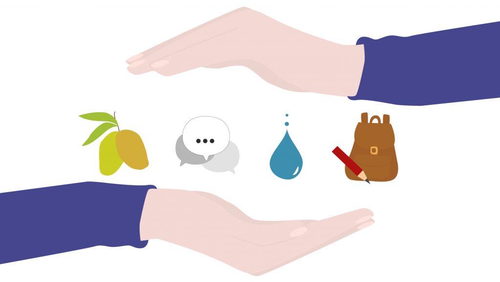 Zwei Hände schließen verschiedene Symbole ein: Mangos, Sprechblasen, Wassertropfen, Rucksack mit Bleistift